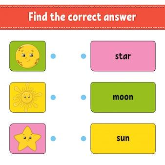 Vind het juiste antwoord. teken een lijn. woorden leren. onderwijs ontwikkelt werkblad.
