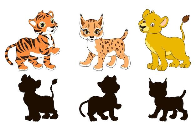 Vind het juiste educatieve schaduwspel voor peuters cartoon leeuw lynx en tijger vector