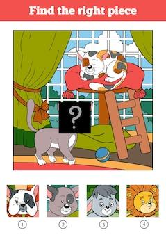 Vind het juiste puzzelspel voor kinderen. twee katten en achtergrond