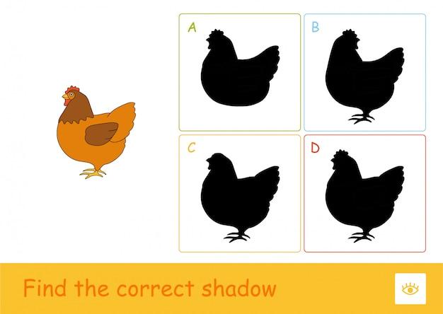 Vind het juiste schaduwquiz-spel voor kinderen met een eenvoudige illustratie van een blijvende kip en vier schaduwen voor de jongste kinderen. plezier en leren van huisdieren voor kinderen.