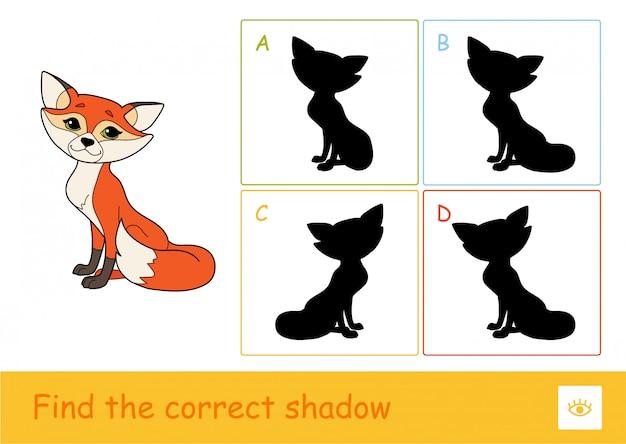 Vind het juiste schaduwquiz spel voor kinderen met een eenvoudige illustratie van een vos en vier schaduwen van silhouetten