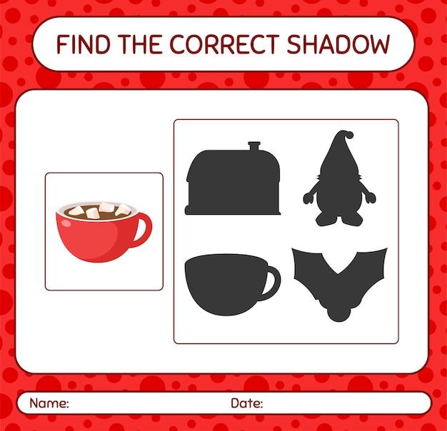 Vind het juiste schaduwspel met marshmallow op warme chocolademelk. werkblad voor kleuters, activiteitenblad voor kinderen