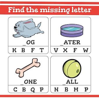 Vind het ontbrekende letterspel voor kleuters