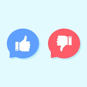 Vind ik leuk en niet leuk pictogrammen, social media iconen