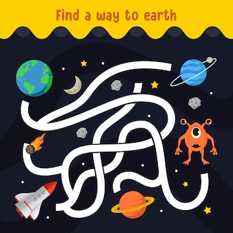 Vind je weg naar het doolhof van de buitenaardse planeet voor kinderen