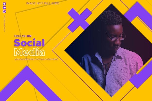 Vind me op sociale media-achtergrond met abstracte vormen