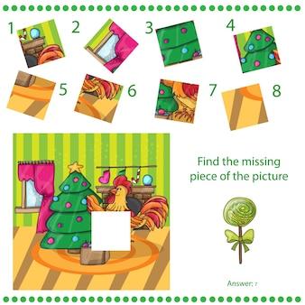 Vind ontbrekend stuk - puzzelspel voor kinderen happy new year card. cartoon pik met boom. haan. vector illustratie.