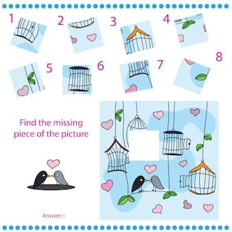 Vind ontbrekend stuk - puzzelspel voor kinderen met grappige vogels