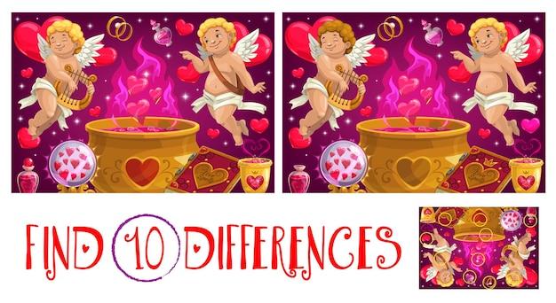 Vind tien verschillen valentijnsdag logisch spel voor kinderen met cupido
