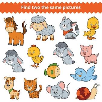 Vind twee dezelfde afbeeldingen, educatief spel voor kinderen, vectorset boerderijdieren