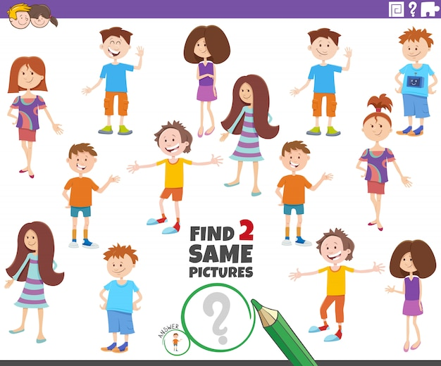 Vind twee dezelfde foto van het spel met kinderpersonages