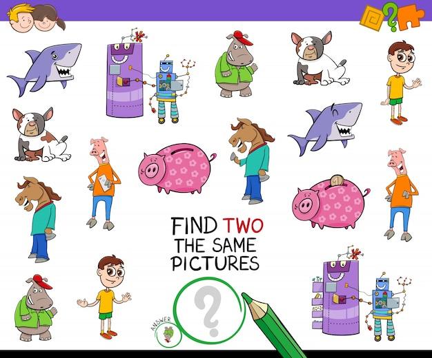 Vind twee hetzelfde cartoonspel voor afbeeldingen
