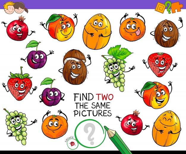 Vind twee hetzelfde spel met fruitkarakters