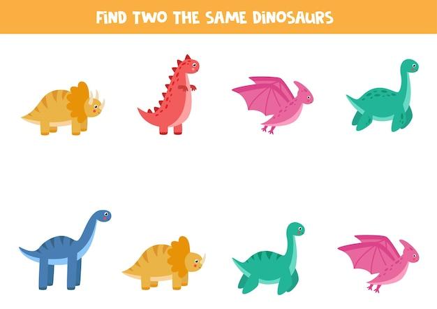 Vind twee identieke dinosaurussen. educatief spel voor kleuters.