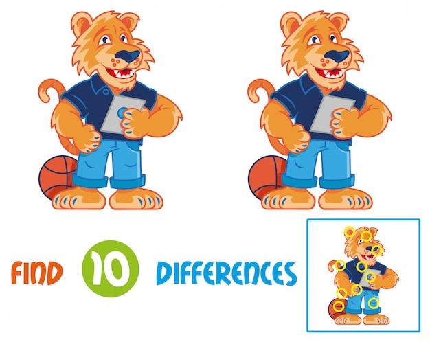 Vind verschillen logisch educatief interactief spel voor kinderen. zeer leuke en vrolijke cartoon tijger die lacht en houdt en de tabletgadget gebruikt. stripfiguur voor een school mascotte onderwijs voor kinderen