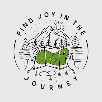 Vind vreugde in de reis met kaart en berg vintage illustratie
