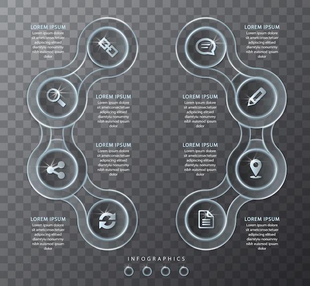 Vinfografisch ontwerp transparant glas ronde spiraalvormige dwarsketting abels en pictogrammen