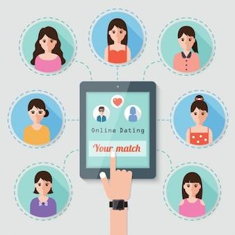 Vinger aanraken van een tablet met foto's van vrouwen
