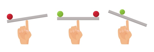 Vinger balans. menselijke hand en wip, vlak evenwichtsbureau met bal vectorconcept. gewichtsbalansvergelijking, gelijkheidsweging op schaalillustratie