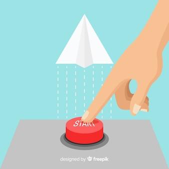 Vinger op rode startknop drukken