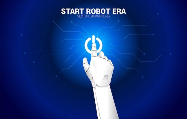 Vinger van de robot raakt het pictogram van de startmotor aan. concept start van ai leermachine-tijdperk.
