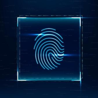 Vingerafdruk biometrische scan vector cyberbeveiligingstechnologie