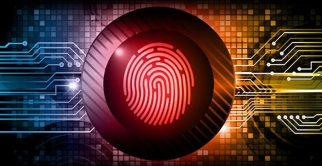 Vingerafdruk hud gesloten hangslot op digitale achtergrond, cyberbeveiliging