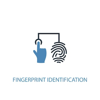 Vingerafdruk identificatie concept 2 gekleurd icoon. eenvoudige blauwe elementenillustratie. vingerafdruk identificatie concept symbool ontwerp. kan worden gebruikt voor web- en mobiele ui/ux