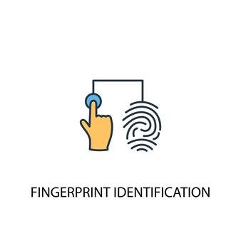 Vingerafdruk identificatie concept 2 gekleurde lijn icoon. eenvoudige gele en blauwe elementenillustratie. vingerafdruk identificatie concept schets symbool ontwerp