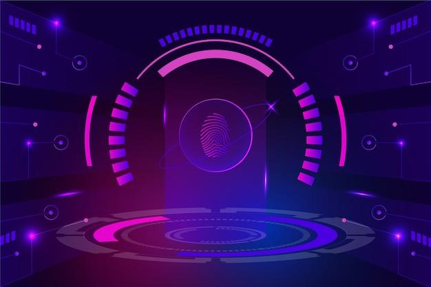 Vingerafdruk neon achtergrond