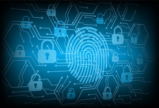 Vingerafdruk netwerk cyber beveiligingsachtergrond. gesloten hangslot op digitaal.