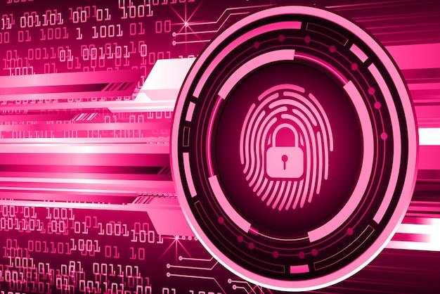 Vingerafdruk netwerk cyberbeveiligingsachtergrond. gesloten hangslot