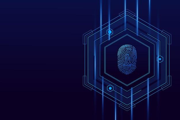 Vingerafdruk scannen, cyberveiligheid en wachtwoordcontrole door middel van vingerafdrukken, toegang met biometrische identificatie