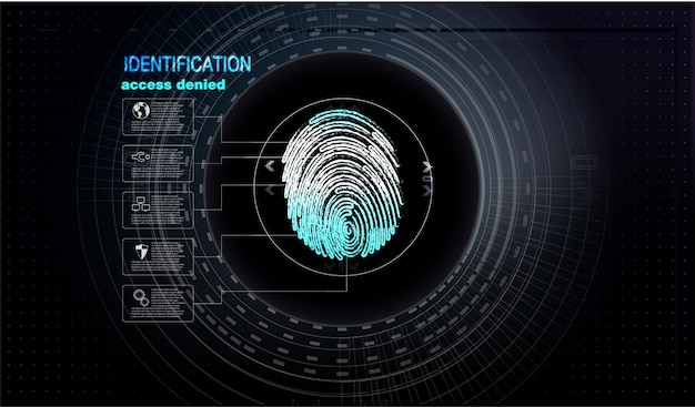 Vingerafdruk scannen technologie concept illustratie
