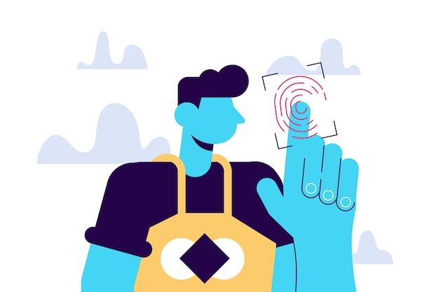 Vingerafdruk toegang tot nieuwe technologieën jonge mannelijke personage scannen hun vinger