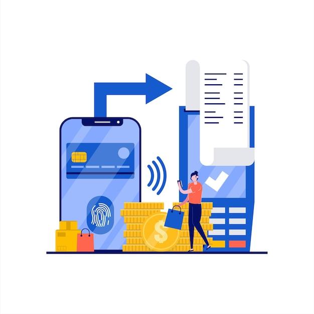 Vingerafdrukbetalingsconcept met karakter. mobiele contacless kaarten, biometrische technologie voor vingerafdrukherkenning. moderne vlakke stijl voor bestemmingspagina, mobiele app, webbanner, heldenafbeeldingen.