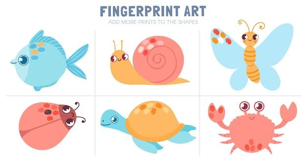 Vingerafdrukken kinderactiviteit. werkbladkleuren met vingerafdrukkunst - vlinder, vis, slak en schildpad. vector leuk spel voor kleuters. afdrukken aan vorm toevoegen, quiz voor de kleuterschool