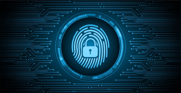 Vingerafdruknetwerk cyberbeveiligingsachtergrond, gesloten hangslot