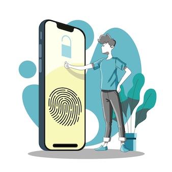 Vingerafdrukscan voor toegangslogin of identificatie