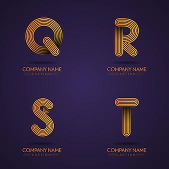 Vingerafdrukstijl professionele letter qrst-logo's