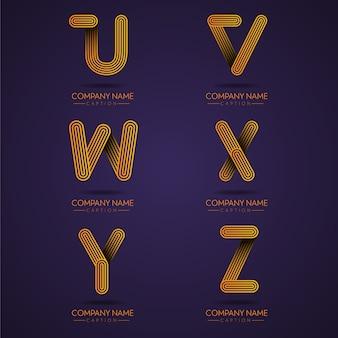 Vingerafdrukstijl professionele letter uvwxyz-logo's