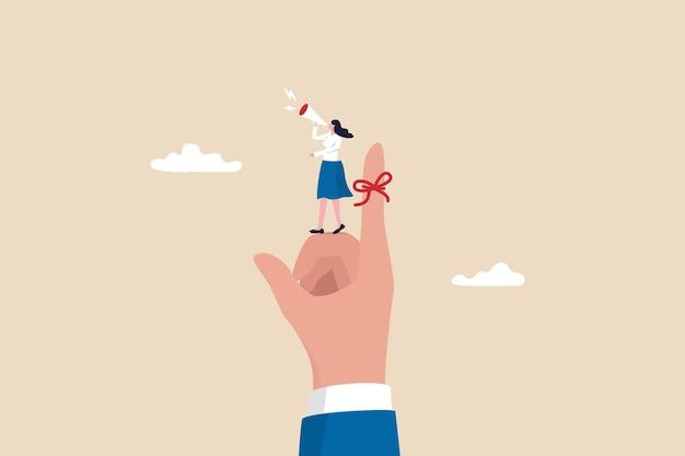 Vingerkoordherinnering, vergeet niet te onthouden, assistentie of secretaresse om belangrijk evenementconcept te herinneren, hulp van zakenvrouwen bind rood touwtje aan baasvinger en gebruik megafoon om hem eraan te herinneren.