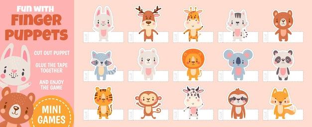 Vingerpoppetjes bosdieren voor papier gesneden kinderactiviteiten. thuisbioscoop met handgemaakt cartoonspeelgoed. kinderen ambacht onderwijs vector pagina