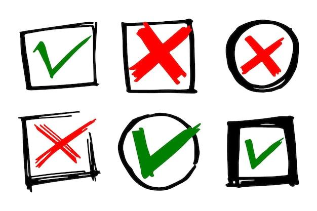 Vink en kruis zwarte borden. grijs vinkje ok en x pictogrammen, geïsoleerd op een witte achtergrond. eenvoudige markeringen grafisch ontwerp. cirkel symbolen ja en nee knop voor stem, besluit, web. vector illustratie.