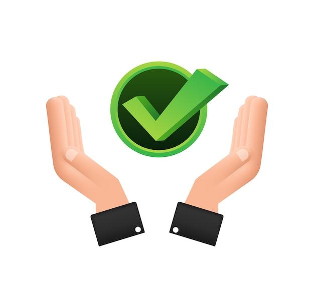 Vinkje dat over handen hangt groene goedgekeurde stersticker op witte achtergrond