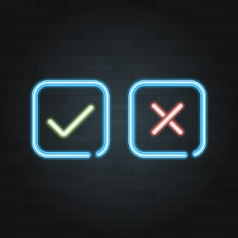 Vinkje lijn symbool neonlicht op zwarte bakstenen achtergrond. vector illustratie.