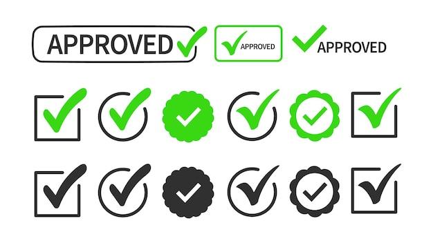 Vinkje of vinkje collectie set geïsoleerd op een witte achtergrond. teken - goedkeuring, keuze, selectie, acceptatie, juist, correct, positief antwoord, echte optie.