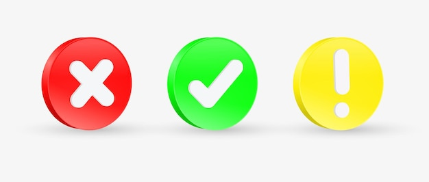 Vinkje pictogram knop met uitroepteken in 3d-cirkel of groen vinkje en rood kruis