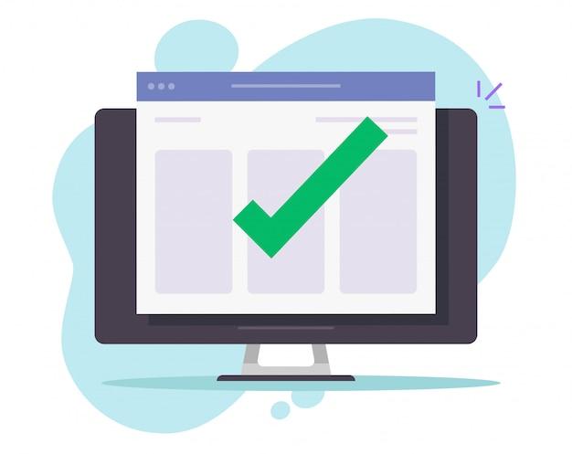 Vinkje voor kennisgeving voltooid op website op desktopcomputer
