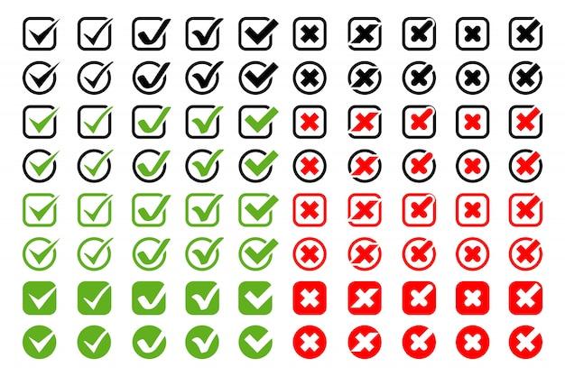 Vinkjes met kruisen pictogrammen grote collectie. vinkjes met kruisen verschillende vormen en kleuren, geïsoleerd op een witte achtergrond. de pictogrammen en kruisen van vinkjes in modern eenvoudig vlak ontwerp